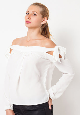 Off Shoulder with Ribbon - White