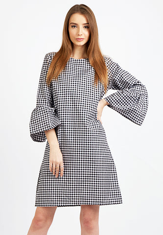 Gingham Dress with Bell - Black