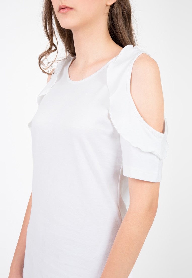 Cold Shoulder Frilled Dress - White