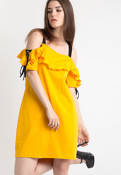 Contrast Midi Dress - Yellow