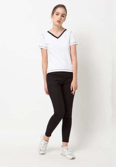 Contrast V neck Tee - White