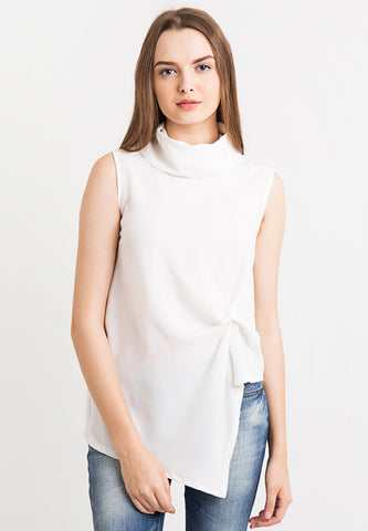 High neck Draped Top - White