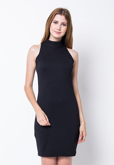 Cover.9 - High Halter Neck Dress Black