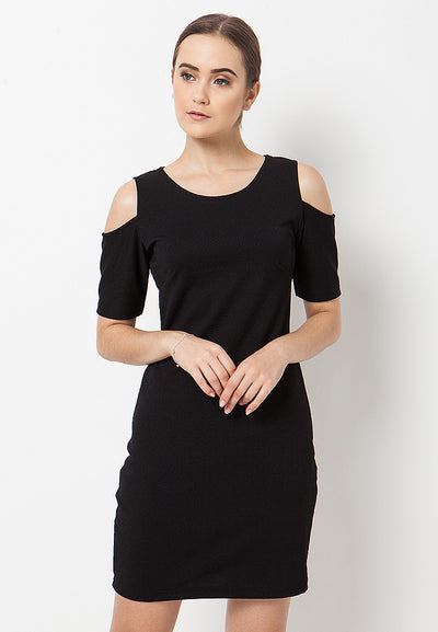Cold Shoulder Dress - Black