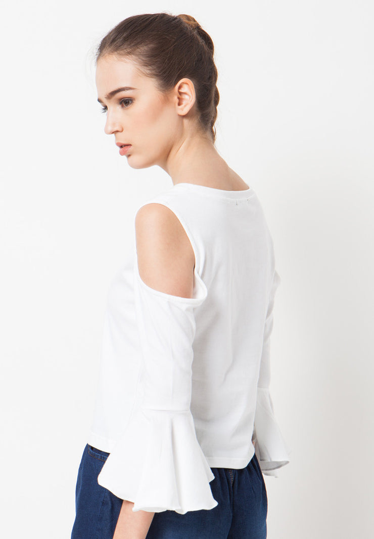 Cold Shoulder Bell Sleeves Tee - White