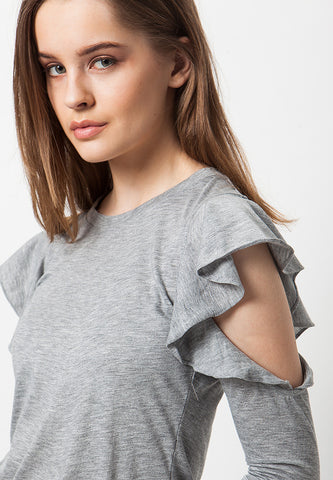 Cold Shoulder Frilled Tee - Misty