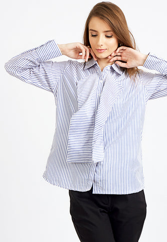 Flared Striped Shirt - Blue
