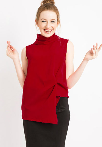 High neck Draped Top - Red