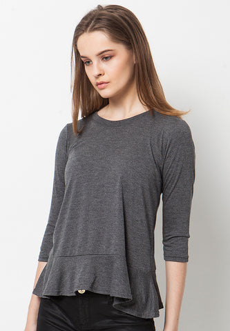 Frilled Peplum T-Shirt - Grey