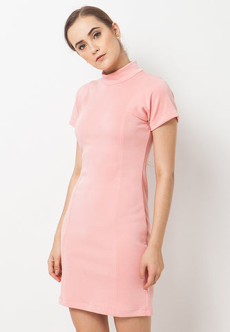 Turtle Neck Dress - Pink