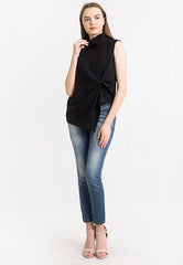 High neck Draped Top -Black
