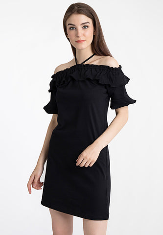 Off Shoulder with Frill Dress - Black