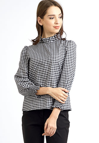 Gingham Long Sleeves Blouse - Black
