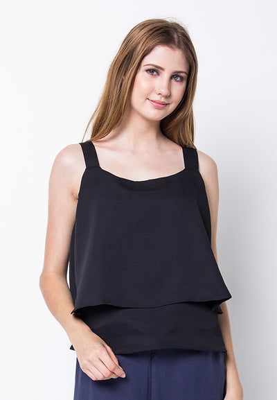 Cover.9 - Sleeveless Flow Top Black