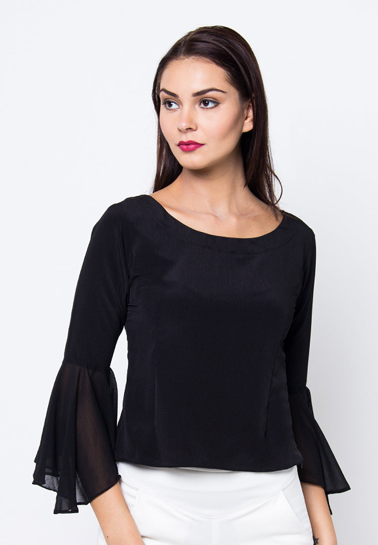 Cover.9 - Bell Sleeve Sabrina Top Black