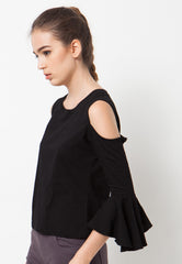 Cold Shoulder Bell Sleeves Tee - Black