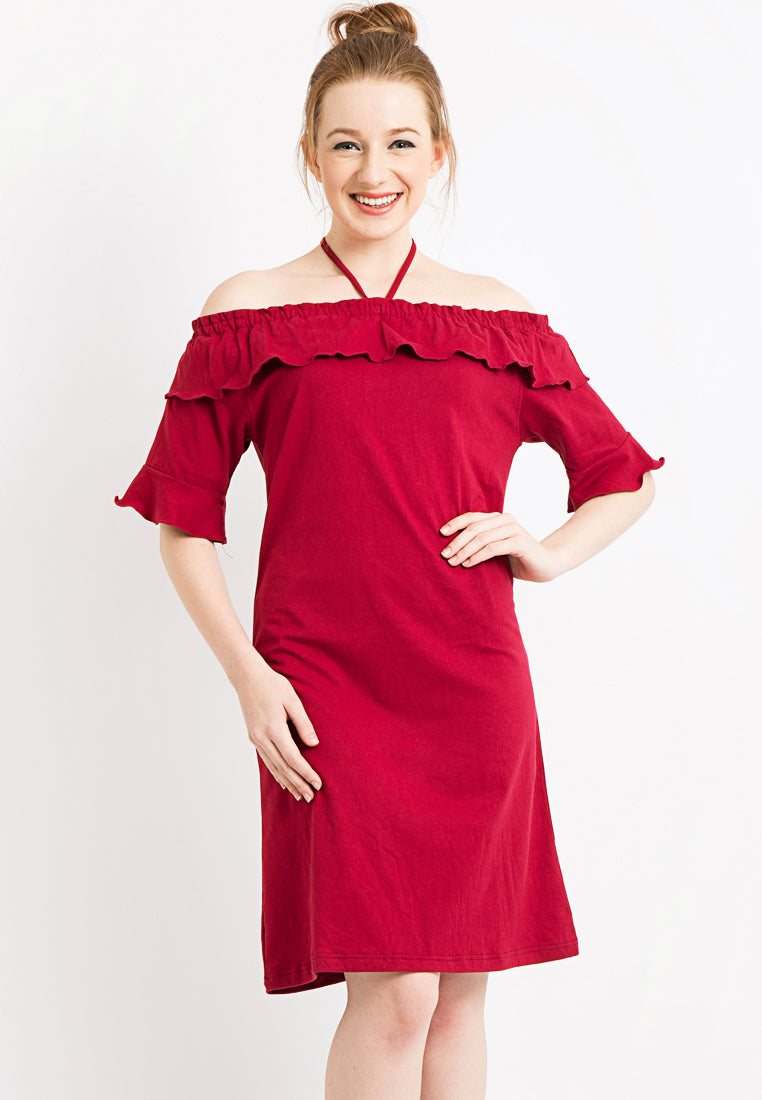 Off Shoulder with Frill Dress - Red