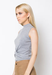 Cross Front Top - Grey