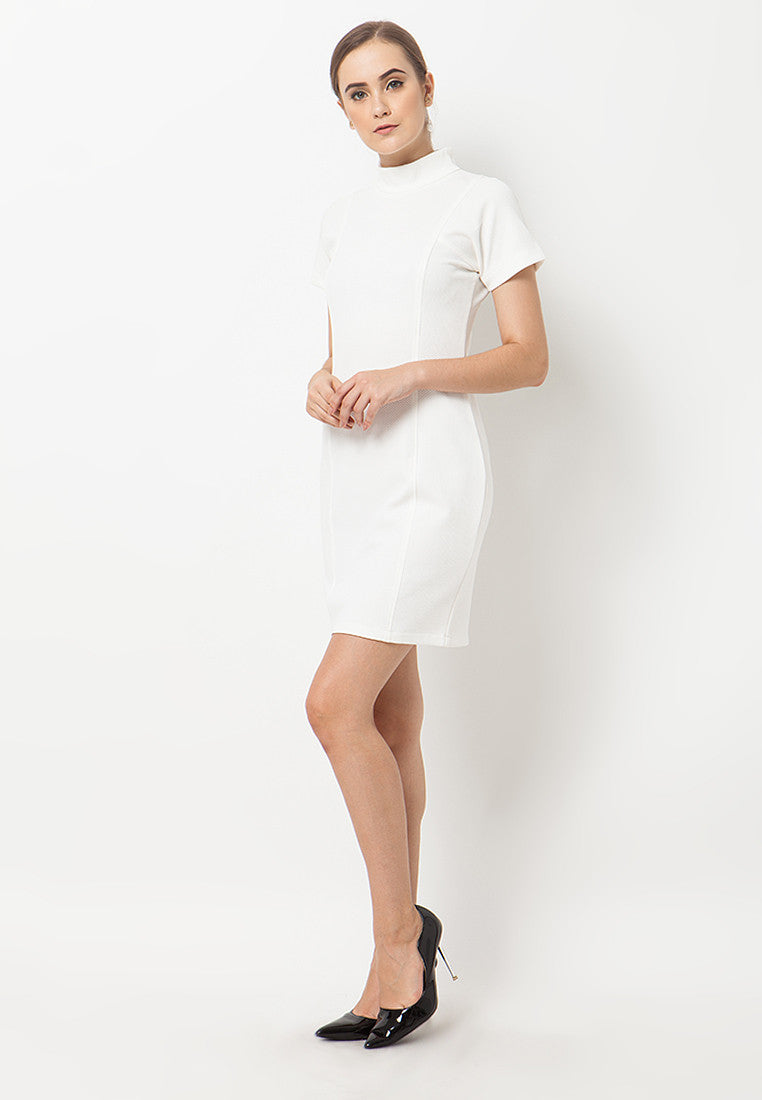 Turtle Neck Dress - White