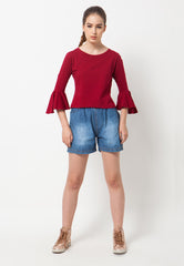Bell Sleeves Tee - Red