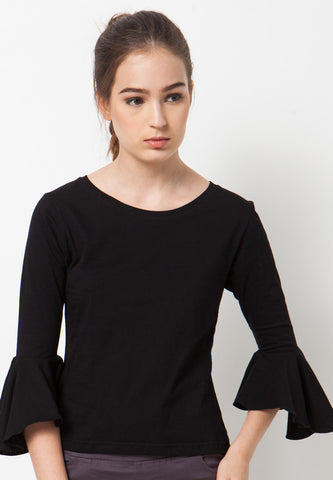 Bell Sleeves Tee - Black
