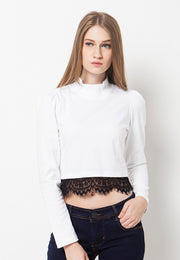 High Neck Lace T-Shirt - White