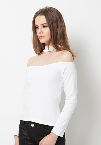 Sabrina Choker Top - White