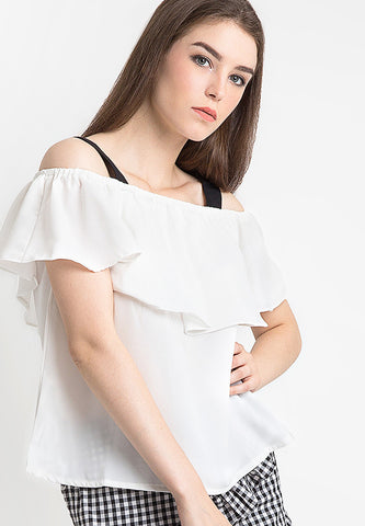 Contrast Layer Blouse - White