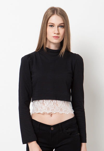 High Neck Lace T-Shirt - Black
