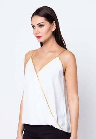 Cover.9 - Contrast Sleeveless Top White