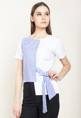 COMBINATION BLOUSE WITH RIBBON - BLUE