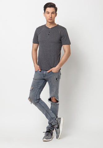 Henley Short sleeves shirt - Grey