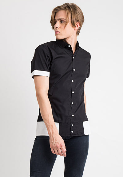 Button Detail Combination Shirt