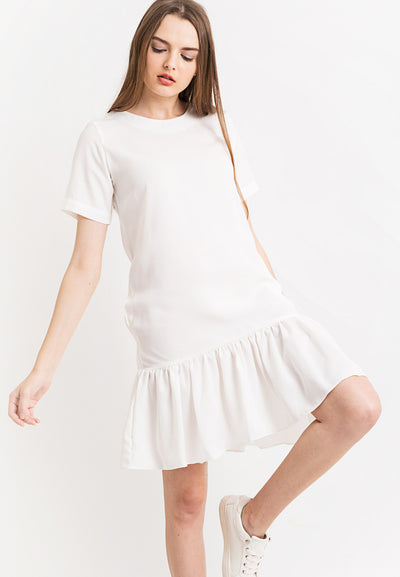 Dress With Peplum - white