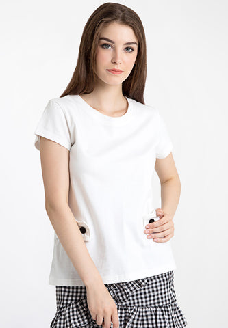 Basic Tee with Button - White