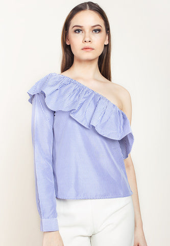 Asymmetric Sleeve Striped Top