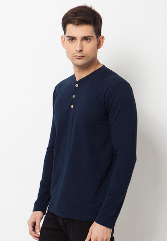 Henley Long Sleeves T-Shirt - Navy