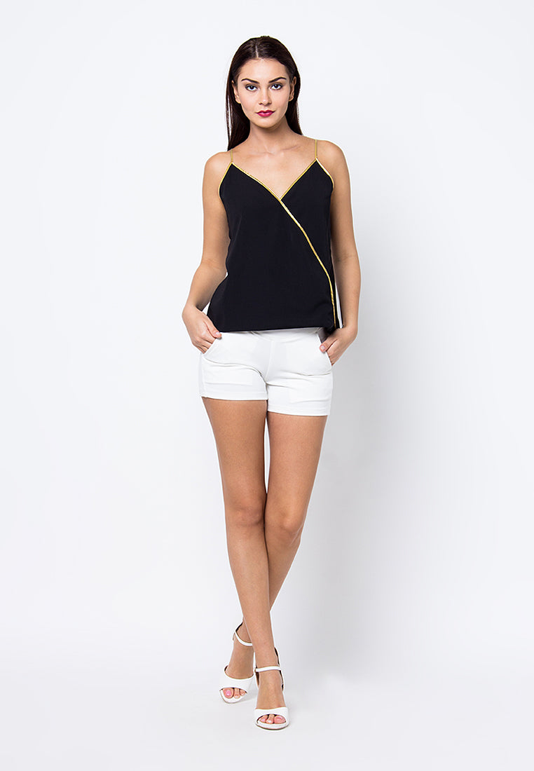 Cover.9 - Contrast Sleeveless Top Black