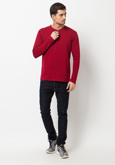 Henley Long Sleeves T-Shirt - Red