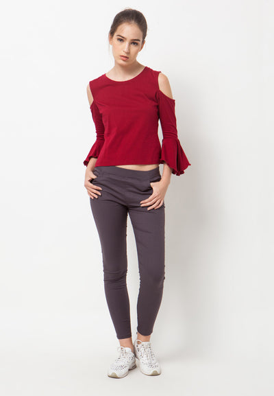 Cold Shoulder Bell Sleeves Tee - Red