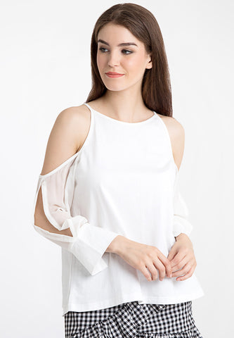 Cold Shoulder Layer Top - White