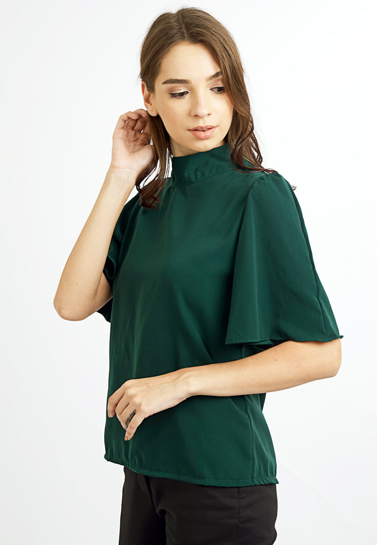 Flared Sleeves Top - Green