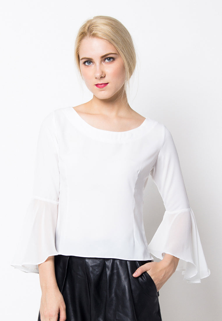 Cover.9 - Bell Sleeves Sabrina Top White