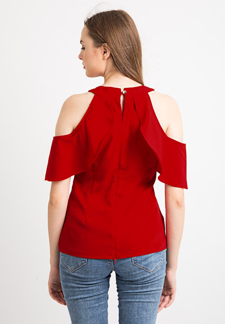 Cold Shoulder Layer Top - Red
