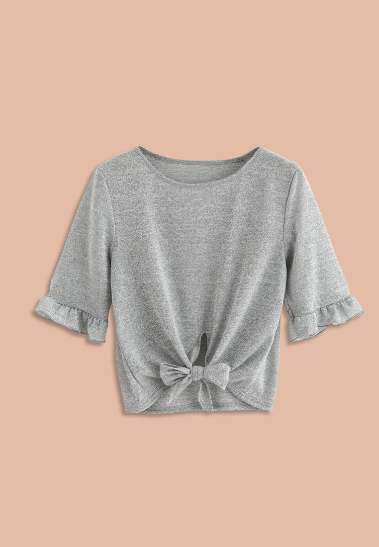 Frilled Tee With Ribbon