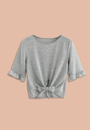 Open image in slideshow, Frilled Tee With Ribbon