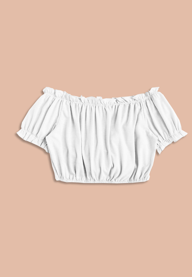 Frilled Off Shoulder Tee With Ribbon