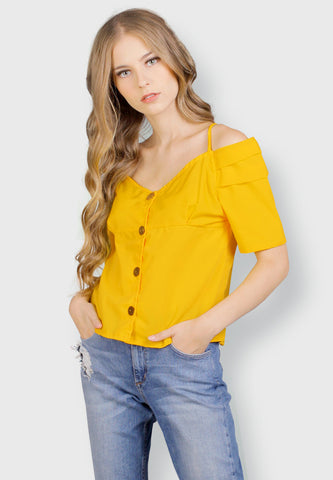 Off Shoulder With Button - Yellow