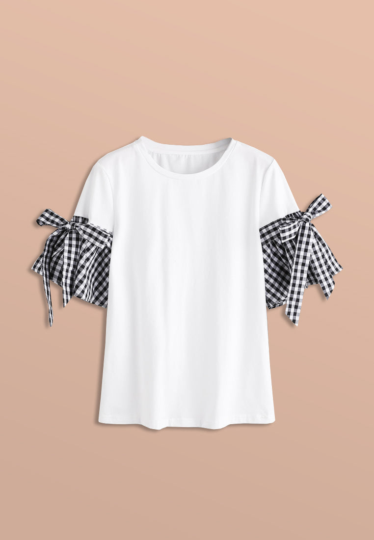 T - Shirt With Plaid Sleeves