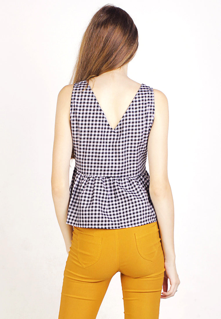 Vneck gingham top